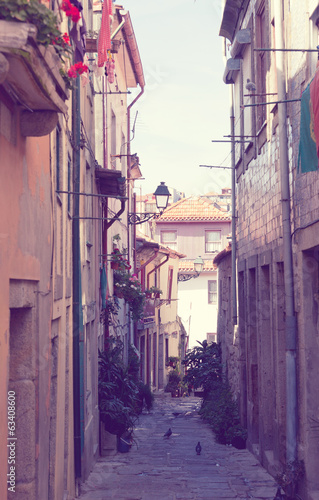 Old narrow small street in Lisbon, Portugal