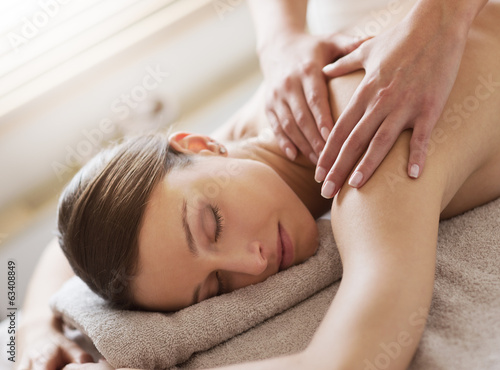 Relaxing back massage at spa