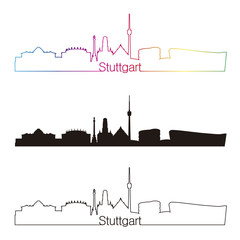 Stuttgart skyline linear style with rainbow