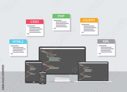 Flat web development design vector coding concept