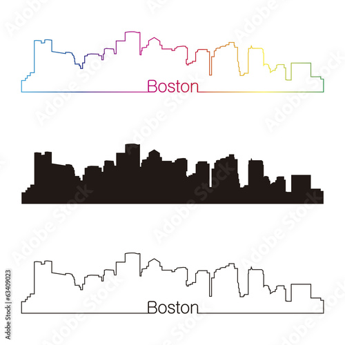 Boston skyline linear style with rainbow