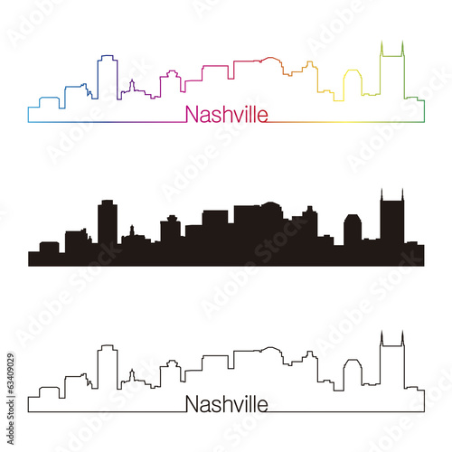 Nashville skyline linear style with rainbow