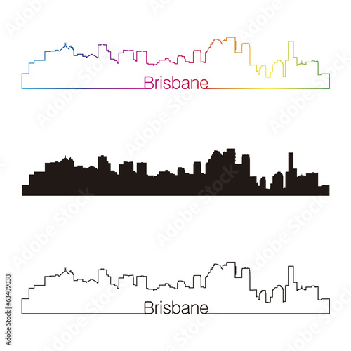 Brisbane skyline linear style with rainbow
