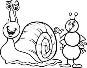 ant and snail coloring page