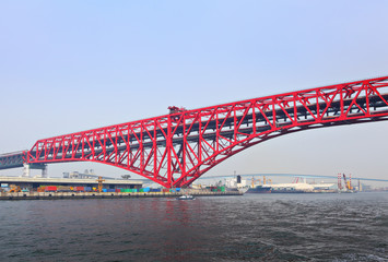 Red bridge in Osaka