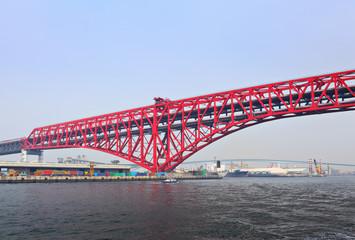 Red bridge in Osaka