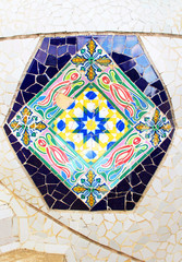 Colorful mosaic in famous Parc Guell, Barcelona