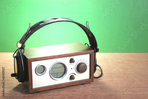 modern radio and headphones retro style,  mint green background