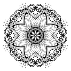 Ornamental round lace pattern is like mandala