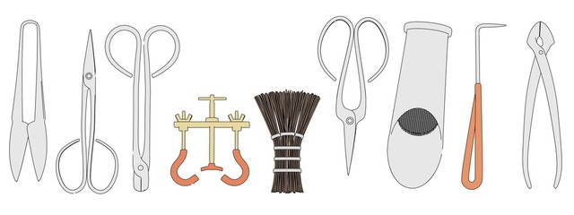 cartoon image of bonsai tools