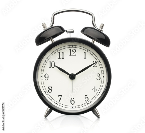 Close up of alarm clock isolated on white background