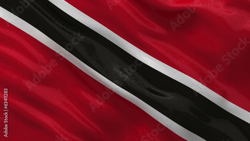 Flag of Trinidad and Tobago waving in the wind - seamless loop
