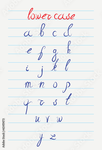 Vector hand drawn lower case calligraphic alphabet
