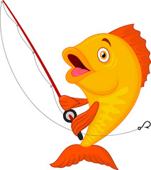 Cute fish holding fishing rod