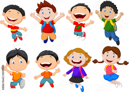 Happy school kid cartoon
