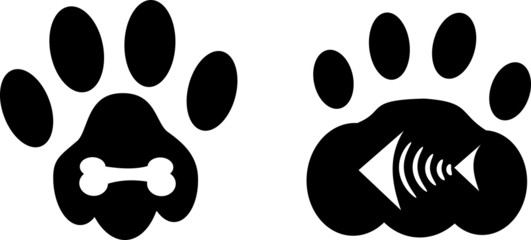 Paws of dog and cat with bones