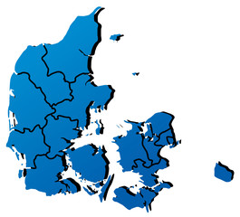 High detailed vector map - Denmark