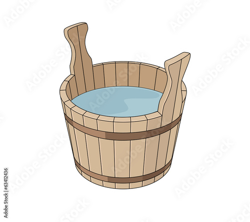 Wooden basin with water
