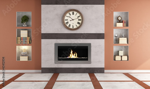Gas fireplace in a living room