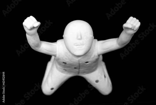 Plaster figure,  isolated on black