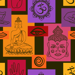 Seamless pattern of Buddhism signs