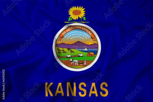 Waving Kansas State Flag