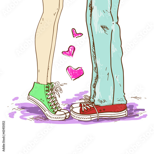 Legs of couple in love