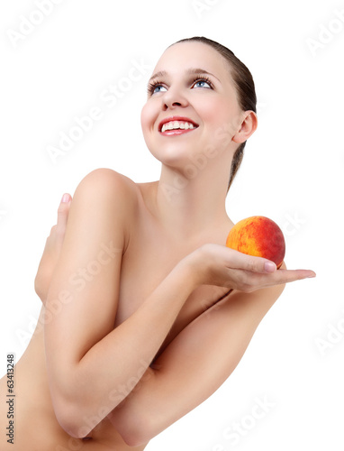 Beauty Girl, Beautiful Young Woman with Fresh Clean Skin and pea