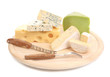 Cheeses on cutting board.