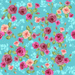 Floral pattern on blue background