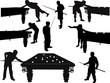 Постер, плакат: set of isolated men plaing billiards