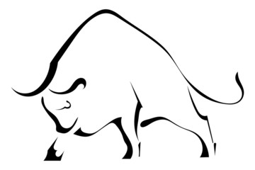 Black silhouette of a strong wild bull
