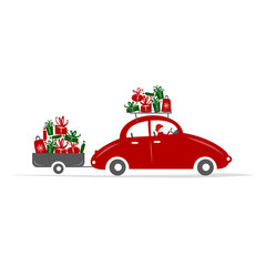 Man driving red car with gift boxes