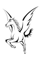 Black silhouette of Pegasus
