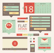 Set of flat web elements, icons and buttons