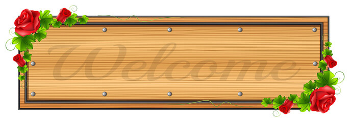 A wooden board with a welcome label