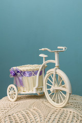 The bike with a basket on a blue background