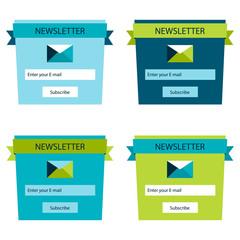 Set of website login form templates, modern flat user interface