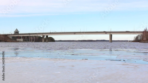 Highway bridge and ice rafts