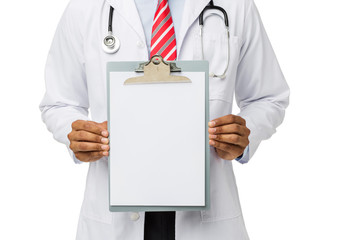 Doctor Showing Blank Medical Chart On Clipboard