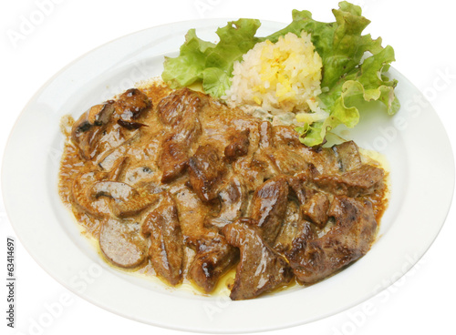 Grilled veal dish served with potato puree and mushrooms