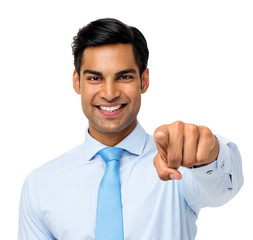 Happy Young Businessman Pointing At You