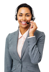 Beautiful Call Center Representative Wearing Headset