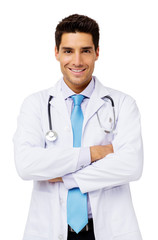 Happy Male Doctor Standing Arms Crossed