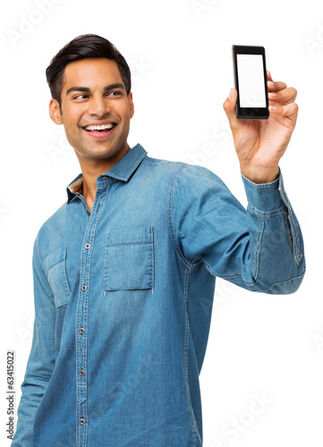 Man Taking Self Portrait Photography Through Smart Phone