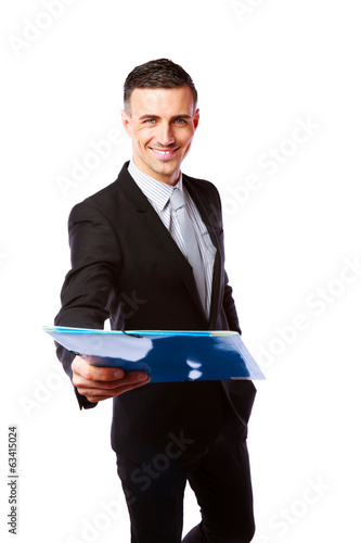 happy businessman giving folder at you