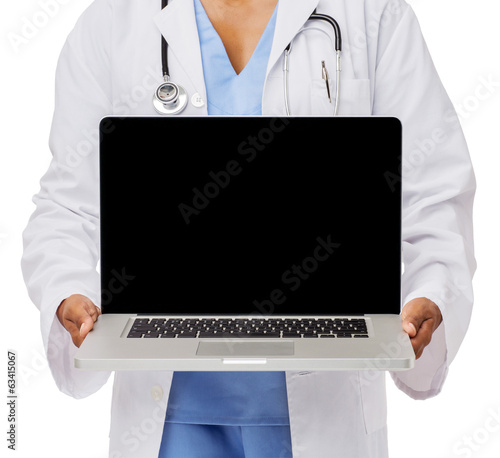 Midsection Of Doctor Promoting Laptop
