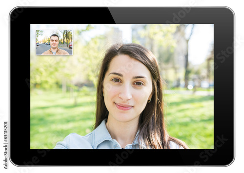 Pretty Young Girl Video Call On Modern Tablet With Young Man