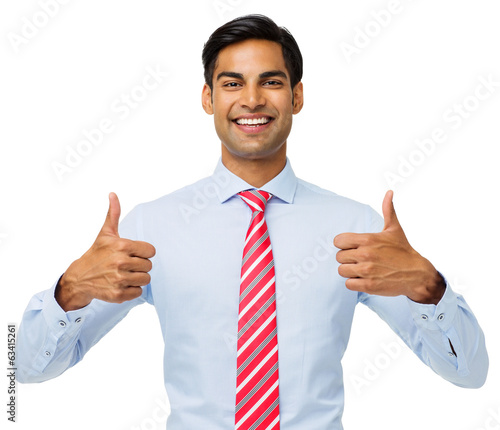 Happy Businessman Gesturing Thumbs Up