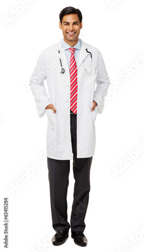 Confident Male Doctor With Hands In Pockets